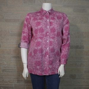 Westbound Pink Starburst Roll Tab Sleeve Shirt Top